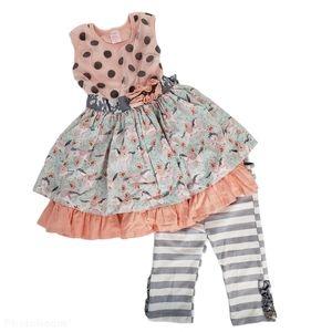 Giggle Moon Polka Dot Horses Floral Dress Pants 4